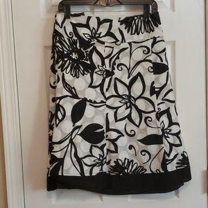 Lane Bryant Black and White Floral Skirt 28w